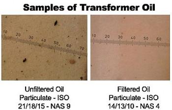 Transformer Oil Samples before and after purification